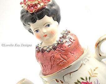 Shelly Pink Roses Functional Teapot Art Doll  Mixed Media Assemblage Pink Roses Funcitonal Art Tea Pot OOAK Art Doll