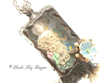 Frozen Charlotte Doll Necklace Soldered Box Diorama Mixed Media One-of-a-Kind Shadowbox Pendant