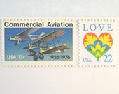 Love Stamps Postcard Postage, Love Heart Stamp, 1920s Planes Stamp, Mail 20 RSVP or Save the Date Postcards, 35 cent postcard postage stamp