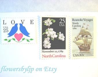North Carolina Love Postage Stamps, Dogwoods - Vintage Ship - Blue Doves Pink Heart Stamps, Mail 20 Wedding Invitations 2 oz 70 cent postage