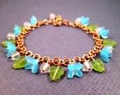Flower Bracelet, Blue Green White Beaded Bracelet, Rose Gold Tone, Copper Charm Bracelet, FREE Shipping U.S.