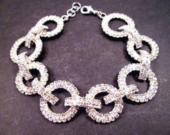 Pave Bracelet, White Glass Rhinestone and Silver Beaded Bracelet, Elegant Chain Bracelet, FREE Shipping U.S.