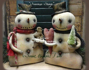 Primitive Doll Pattern Snowman Stumps