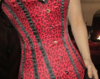 50% Off SALE Red and Black Leopard Corset Size 20 Cheetah Gothic Rockabilly Pin-Up