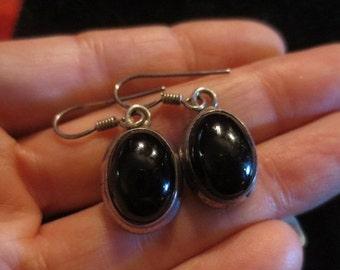 SALE Vintage Sterling Silver Black Onyx Earrings Oval Shape