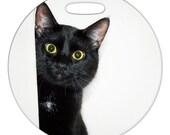 Luggage Tag - Peeking Around the Corner Photo Black Cat - 2.5 inch or 4 Inch Round Large Plastic Bag Tag