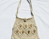 vintage 1970s BEADED MACRAME handbag | natural color crochet boho chic