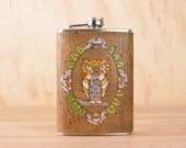 Leather Owl Flask - Handmade Hip Flask in the Emersno Pattern with owl and woodgrain - 8oz Size - Bridesmaid Flask - Wedding Flask