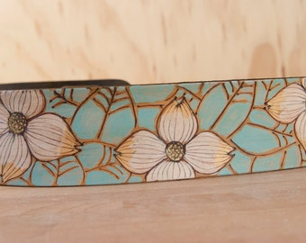 Guitar Strap - Leather Guitar Strap - Rebecca pattern with dogwood flowers- Art Nouveau - Sage, gold, white, brown - acoustic or electric
