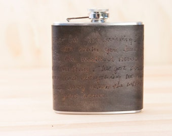 Personalized Leather Flask - Smokey Pattern in Antique black - Custom leather flask with stainless steel