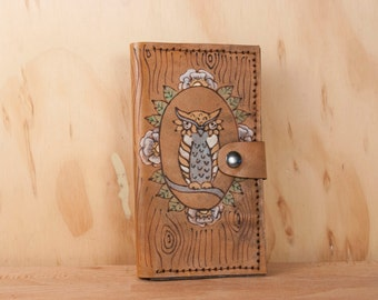iPhone 6 Plus Case With Card Holder - Leather Emerson Owl iPhone Wallet with Antique Brown - iPhone 5 5c 6 6+