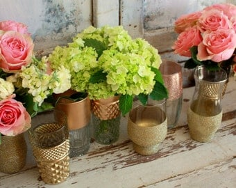 """12 Gold dipped vases, gold wedding decor, 6"""" CUSTOM gold vases for wedding centerpieces, gold bouquet vase, table decoration"""