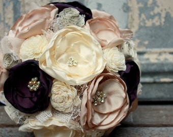 Champagne and eggplant fabric flower bridal bouquet, Plum wedding bouquet with vintage sheet music, burlap and sola flowers