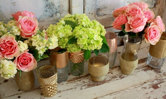 Gold dipped vases wedding decor custom by