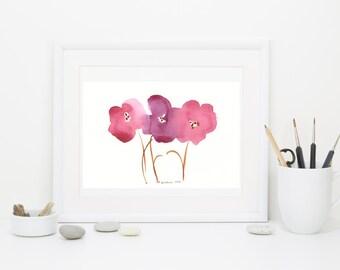 """Watercolor art print: """"Autumn Palette Poppies"""""""