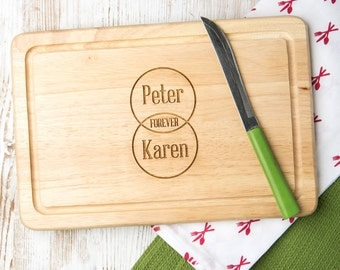 Personalised Forever Venn Diagram Chopping Board