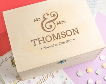Wedding Keepsake Box / Memory Box Personalized Wooden Wedding Gift