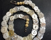 Small white button necklace