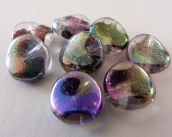 Vintage West German 1950s Iridescent Clear Twisted Round Flat Glass Beads - 10mm - Lot of 4