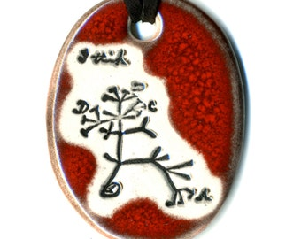 Darwin Tree Ceramic Necklace in Red