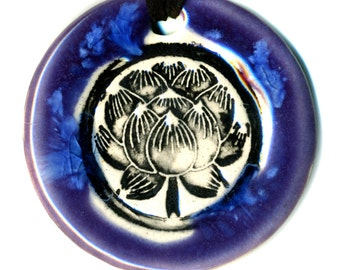 Lotus Flower Ceramic Necklace in Purple