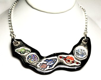 Space Sparkle Surly Ceramic Necklace With Rhinestone Chain