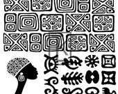 African Symbols Leaves Silk Screen (E27)