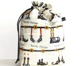 Bigger Drawstring Bag, Knitting Project Padded Tote - Spooky Chickster