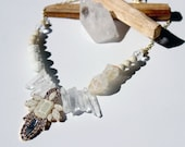 Audrey Necklace Mixed Media Crystal and Stone Statement Necklace