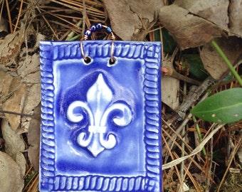 FLeur de Lis Tile in True Blue