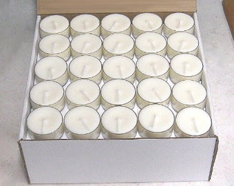 Premium Soy Tea Lights - 100 Pack - UNSCENTED \/ WHITE