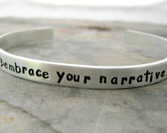 Embrace Your Narrative Bracelet, double sided available, empower yourself, believe in yourself, embrace your journey, self-esteem jewelry