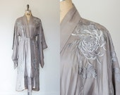 Art Nouveau/Art Deco Edwardian 1910s-1920s Antique Japanese Embroidered Silk Flapper Robe/ Kimono