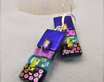 Dichroic earrings, artisan jewelry, unique and stylish, wedding gifts, gifts for her, trending now, freshly picked, statement earrings, ooak