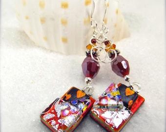 Heart earrings, Dichroic glass earrings, Statement earrings, women's handmade, ruby red earrings, Hana Sakura, Fused glass jewelry, Crystals