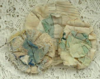 3 upcycled fabric flowers, cottage chic flower, gift top, lot flower supplies scrap flowers shabby upcycled quilt flower scrap appliques #26