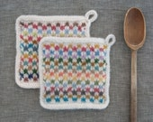Colorful Set of Potholders Two Felted Wool Trivets  Functional Art for the Modern Kitchen  Handmade in Multi Colors and Soft White