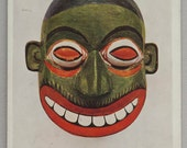 Unused Oversize Fine Art Postcard of a Painted Wooden Mask from Ceylon
