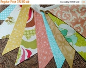 HALF PRICE First Image ONLY Aqua, Peach, Gold Fabric Bunting Flag Banner, Garland Bunting. Designer Fabrics Wedding Decor, Kids Room, Shower