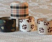 Lot of 4 Ribbons  Dog Paws Camo Plaid 6.5 yds Total  grosgrain woven 7/8 and 1 inch