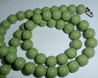 Sage Green Glass Bead Strand 8mm Round-Long Strand