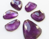 Gemstone Cabochon Amethyst Free Form Faceted Parcel SIX CABS