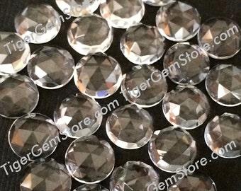 Gemstone Cabochon Clear Quartz 5mm Rose Cut FOR SIX