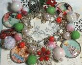 Charm Bracelet, Kitsch style,  Classic Holiday, altered art, mixed media, OOAK, cute snowman, deer, bostoncharm