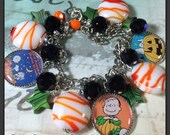 Halloween, The Great Pumpkin Charlie Brown,  altered art charm bracelet, handmade, #ooak, #bostoncharm, ebsq