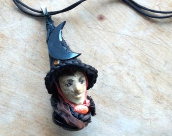 Witch Art Doll head Pendant necklace ,assemblage ,mixed media Antique Glass Moon by jul ann