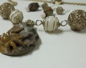 Spider Necklace and Earrings Set, Carved and pierced stone pendant ,Wire Ball beads, and Caged white Quarts