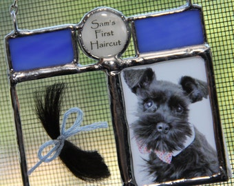 Personalized Hair and Photo Keepsake, Pet Ornament, Pet Loss, Personalized Dog Cat Christmas Ornament, Gift Pet Lover