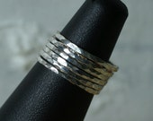Hand hammered silver tone midi ring, knuckle ring, stack rings, 2 pcs  (item ID SRSP)