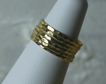 Hand hammered gold tone midi ring, knuckle ring, stack rings (item ID SRGP)